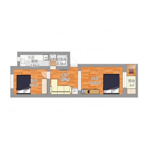 甜水园东里2室2厅1卫1厨65.00㎡户型图