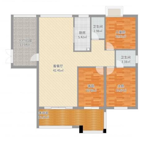 颐和山庄3室1厅3卫1厨156.00㎡户型图