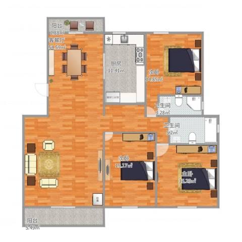 益兴名人湾3室1厅2卫1厨171.00㎡户型图