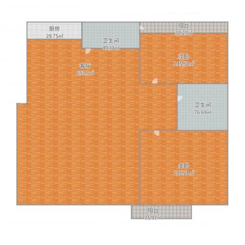 兰亭山水2室1厅2卫1厨1613.00㎡户型图