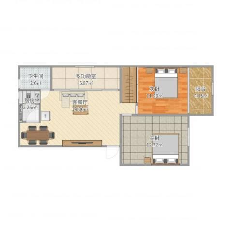 银安花园2室1厅1卫1厨80.00㎡户型图