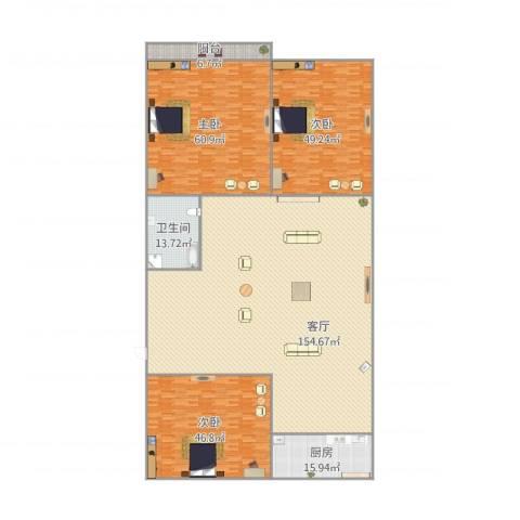 白马家园11-7-5023室1厅1卫1厨449.00㎡户型图