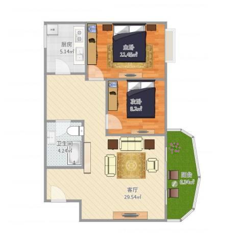 超洋花园B12室1厅1卫1厨88.00㎡户型图