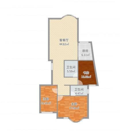 上京新航线3室1厅2卫1厨138.00㎡户型图