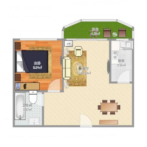 超洋花园A21室1厅1卫1厨59.00㎡户型图