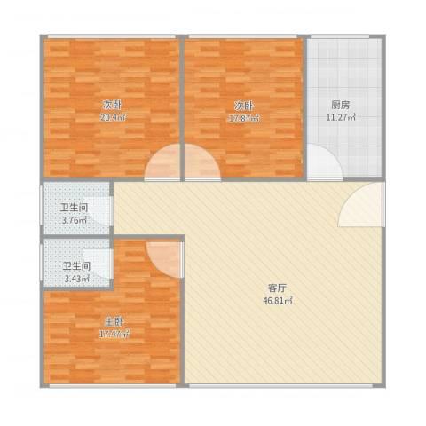 金汉绿港3室1厅2卫1厨160.00㎡户型图