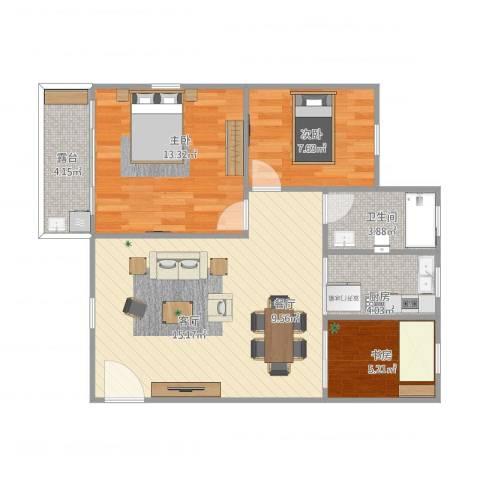 合正逸园3室1厅1卫1厨85.00㎡户型图