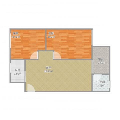 清华园2室1厅1卫1厨88.00㎡户型图