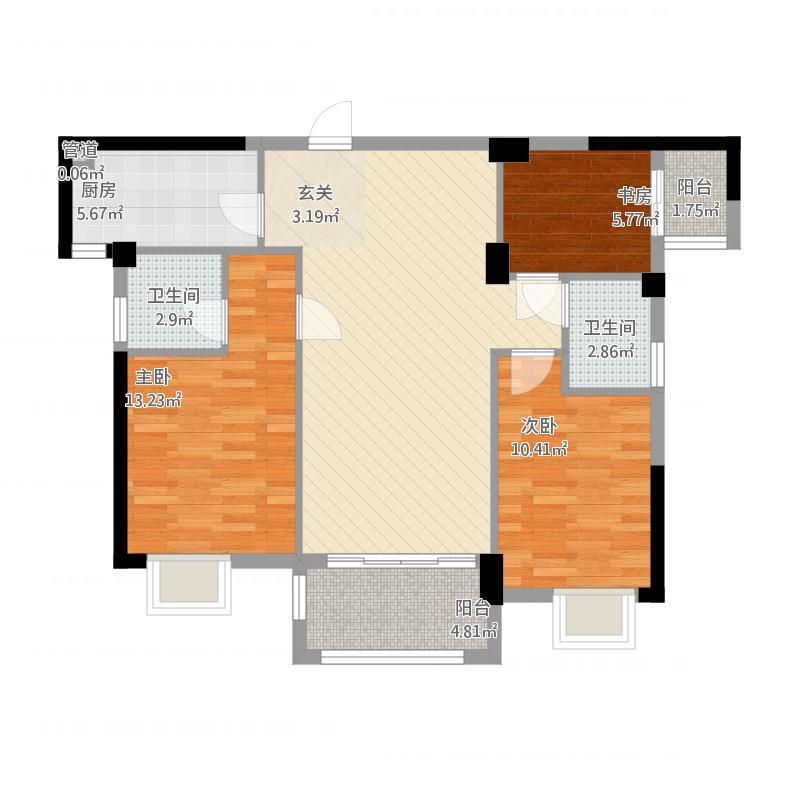 万春一品5#楼02/06户型三室二厅二卫二阳台面积107