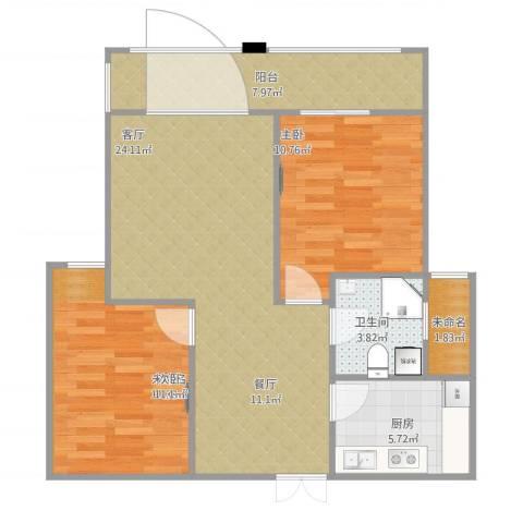 紫金天境1室1厅3卫1厨89.00㎡户型图