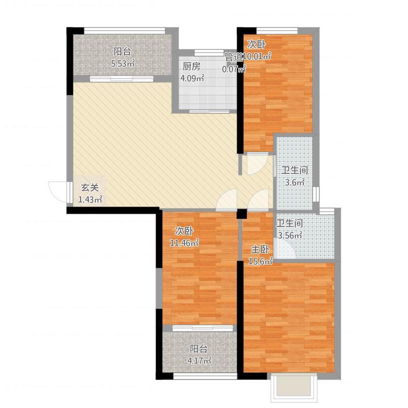 万春一品5#楼03/05户型三室二厅二卫二阳台面积123
