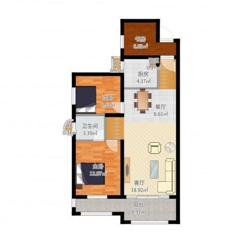 大学里三期3室1厅3卫2厨111.00㎡户型图