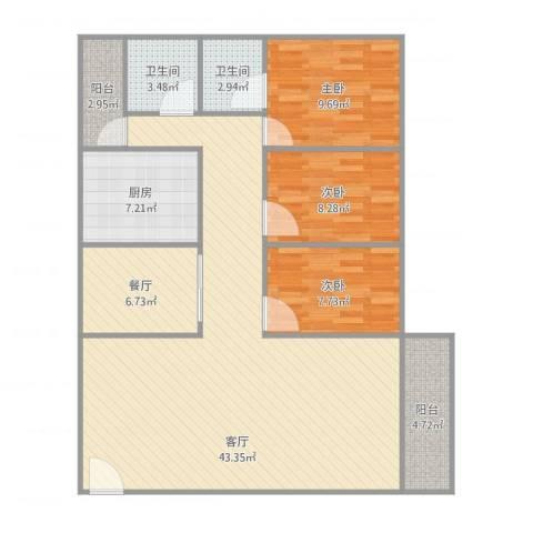 珠江小区3室2厅2卫1厨131.00㎡户型图