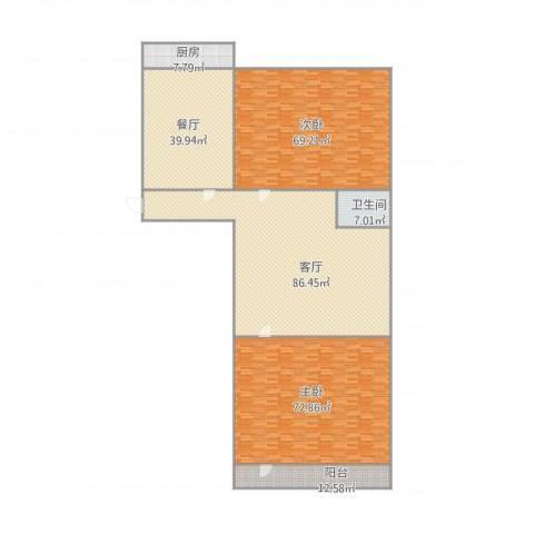 玉函新南区2室2厅1卫1厨384.00㎡户型图