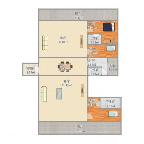 盈兴阁3室3厅3卫1厨224.00㎡户型图