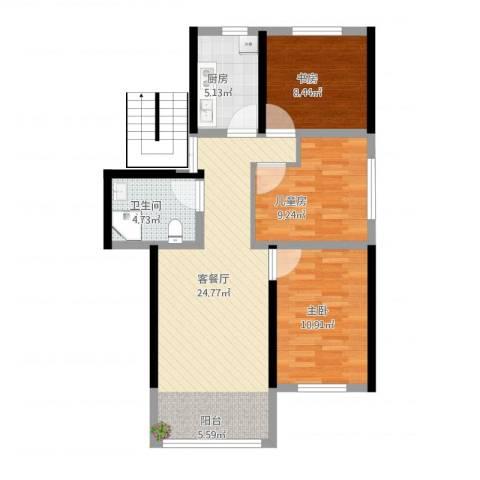 银桥花苑3室1厅1卫1厨91.00㎡户型图