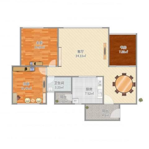 汇银环湖国际3室1厅1卫1厨113.00㎡户型图