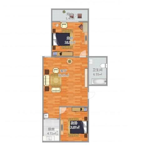 清泉名苑2室1厅1卫1厨104.00㎡户型图
