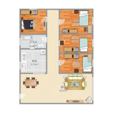 蓝天苑4室1厅1卫1厨89.00㎡户型图
