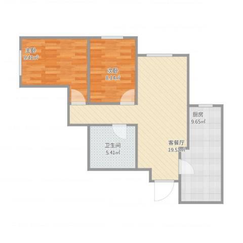 宋家庄家园纪女士2室1厅1卫1厨71.00㎡户型图
