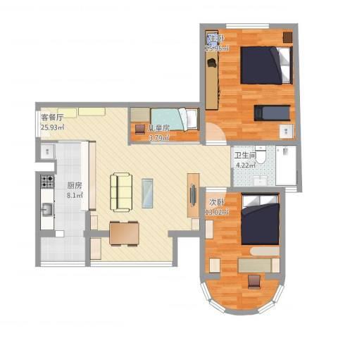三环新城两居改三居3室1厅1卫1厨100.00㎡户型图