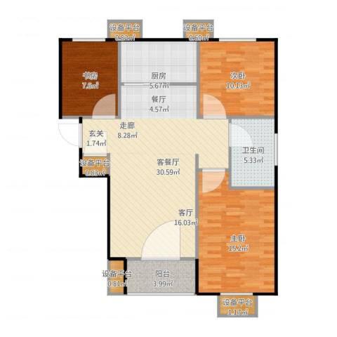 万科城3室1厅3卫4厨112.00㎡户型图