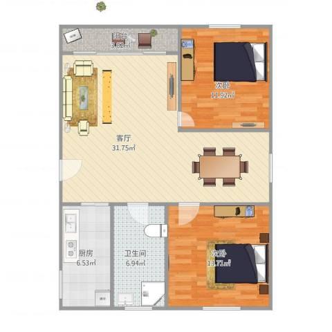 美丽家园2室1厅1卫1厨100.00㎡户型图