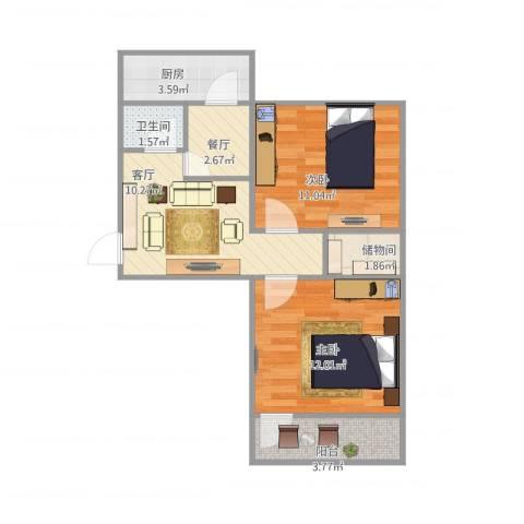 老屯铁路小区2室2厅1卫1厨64.00㎡户型图
