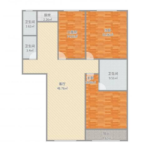 时代方舟3室1厅3卫1厨171.00㎡户型图