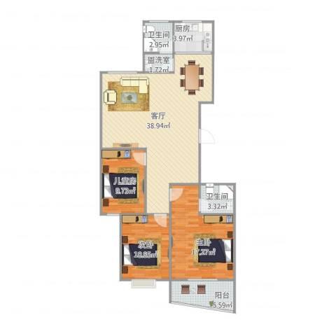 人才公寓3室2厅2卫1厨127.00㎡户型图