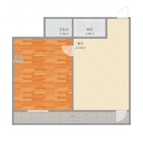 煤机一区1室1厅1卫1厨76.00㎡户型图