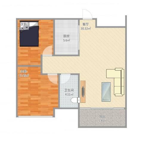 怡和四季园筑2室1厅1卫1厨92.00㎡户型图