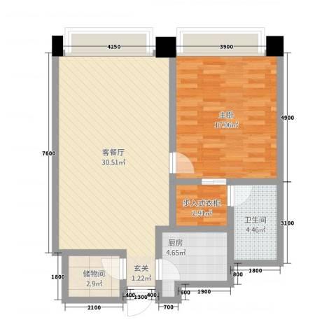 新世界太华公寓1室1厅1卫1厨107.00㎡户型图