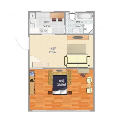 南新二村1室1厅1卫1厨68.00㎡户型图