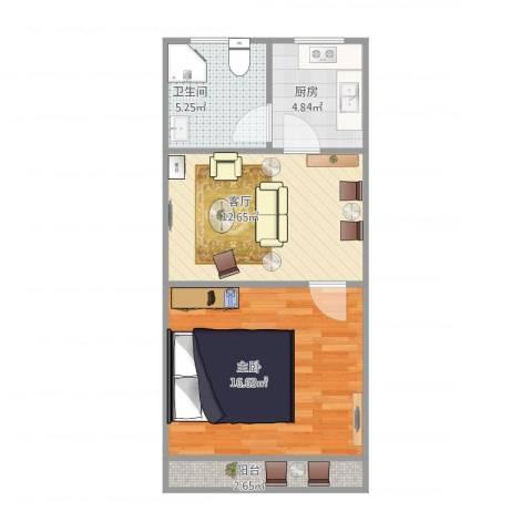 艾南小区1室1厅1卫1厨57.00㎡户型图