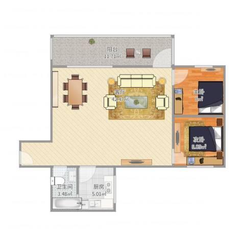 怡景花园2室1厅1卫1厨105.00㎡户型图