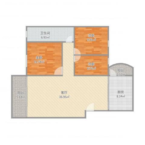 丽日豪庭3室1厅1卫1厨119.00㎡户型图