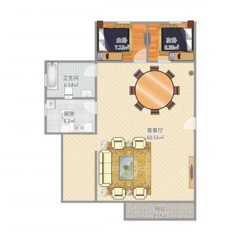 嘉禾新城2室1厅1卫1厨121.00㎡户型图