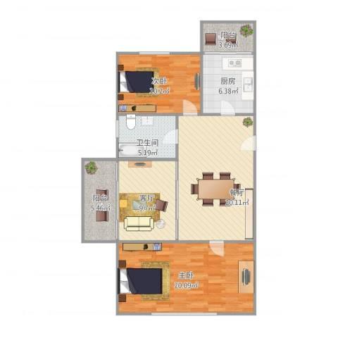 建业新村2室2厅1卫1厨108.00㎡户型图