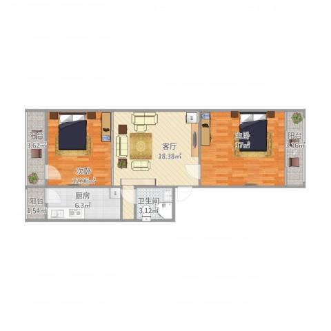 建欣苑三里2室1厅1卫1厨90.00㎡户型图
