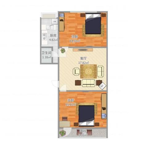 建欣苑三里2室1厅1卫1厨77.00㎡户型图