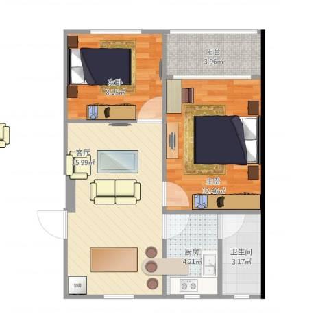 学前二村2室1厅1卫1厨65.00㎡户型图