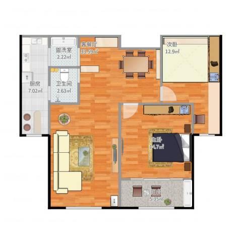 华苑小区2室2厅1卫1厨106.00㎡户型图