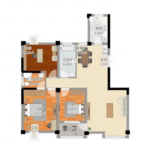 新邦涌金门3室1厅1卫1厨140.00㎡户型图
