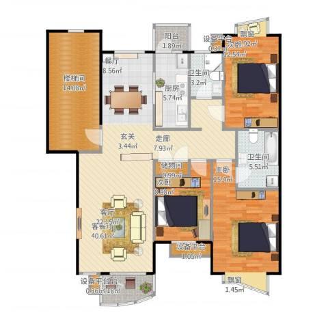 蓝天花园3室1厅2卫1厨154.00㎡户型图
