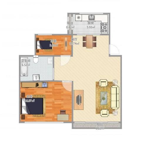 海上国际花园2室1厅1卫1厨98.00㎡户型图