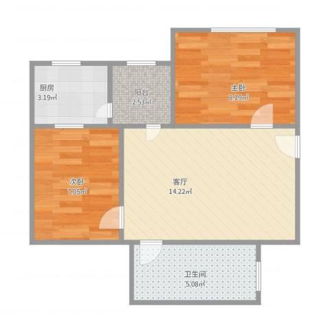 棠德花园2室1厅1卫1厨55.00㎡户型图