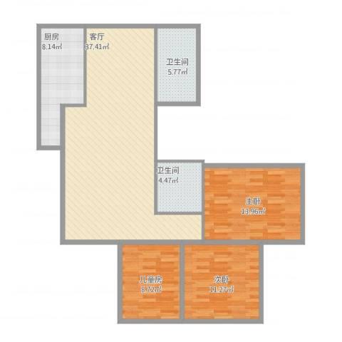 西黄新村北里3室1厅2卫1厨124.00㎡户型图