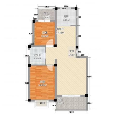全华顺景苑2室2厅1卫1厨92.00㎡户型图