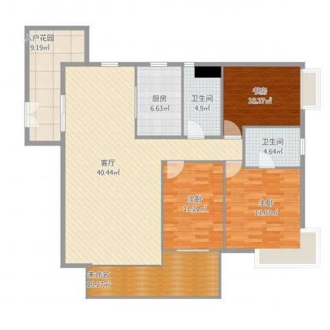 广州亚运城天誉3室1厅4卫1厨151.00㎡户型图